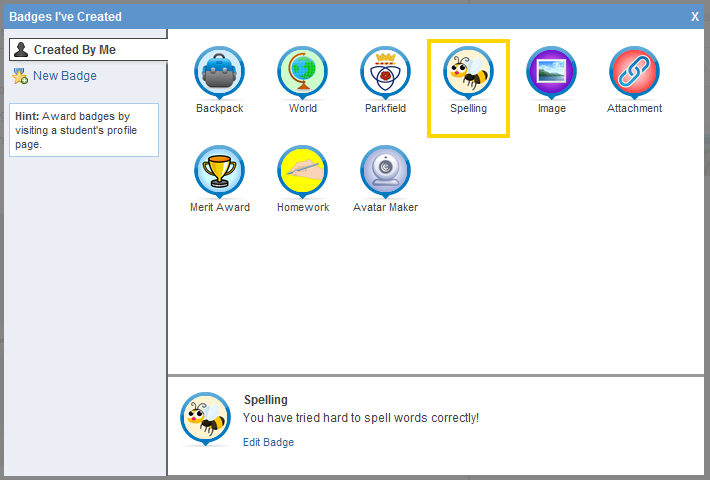 List of Synonyms and Antonyms of the Word: edmodo badges