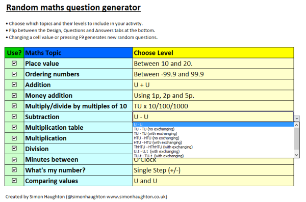 Random Maths Question Generator - Simon Haughton\'s website