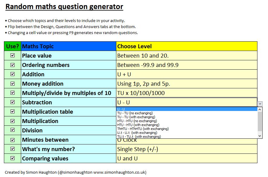 Random Maths Question Generator - Simon Haughton's website
