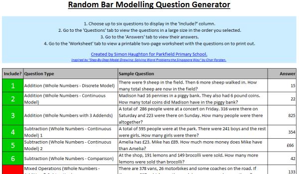 Random Bar Modelling Question Generator - Simon Haughton's